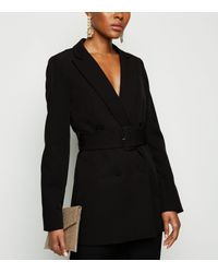 New Look Black Double Breasted Belted Blazer