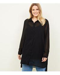 New Look Curves Black Longline Chiffon Shirt
