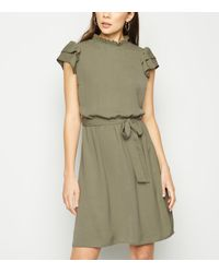 New Look Green Olive Frill High Neck Dress