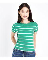 New Look Petite Green Stripe Ribbed T-shirt