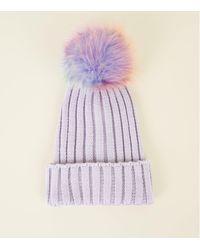 5148a8b04 Women's Purple Lilac Rainbow Pom Pom Bobble Hat