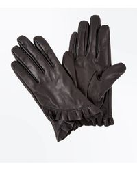 New Look Black Frill Leather Gloves