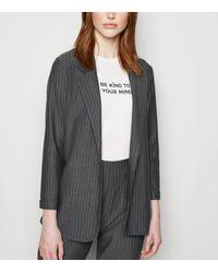 New Look Gray Tall Grey Pinstripe Jersey Blazer