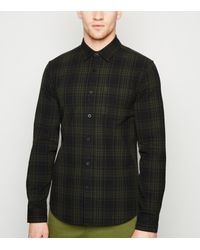 New Look Black Khaki Check Long Sleeve Shirt for men