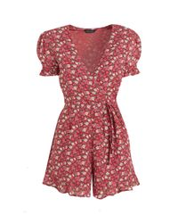 New Look Pink Floral Puff Sleeve Wrap Playsuit