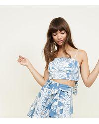 New Look Blue Tropical Linen Blend Tie Back Cami