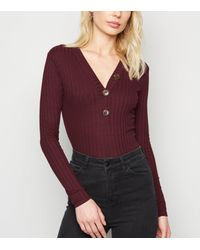 New Look Purple Burgundy Ribbed Button Front Cardigan