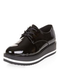 New Look Wide Fit Black Patent Platform Lace Up Brogues