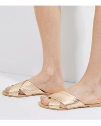 New Look Metallic Gold Leather Cross Strap Mules