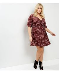 New Look Red Curves Burgundy Heart Print Wrap Front Dress