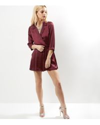 New Look Red Petite Burgundy Sateen Wrap Front Playsuit