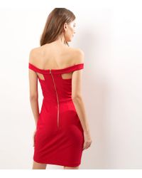 New Look Red Bardot Neck Cut Out Strap Bodycon Dress