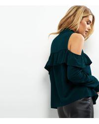 New Look Dark Green Frill Trim Cold Shoulder Shirt