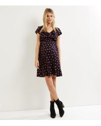 New Look Maternity Black Floral Frill Trim Wrap Front Dress