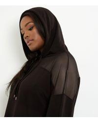 New Look Curves Black Mesh Panel Raw Hem Hoodie