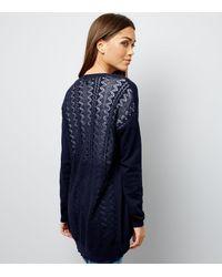 New Look Blue Navy Lace Back Longline Cardigan