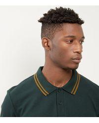New Look Dark Green Contrast Trim Polo Shirt for men