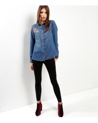 New Look Blue Floral Embroidered Long Sleeve Denim Shirt
