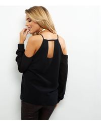 New Look Black Cold Shoulder Long Sleeve Top