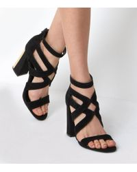 New Look | Black Suede Cross Front Metal Trim Flared Heels | Lyst