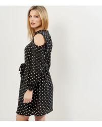 New Look Maternity Black Polka Dot Frill Trim Cold Shoulder Dress