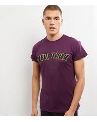 New Look Dark Purple New York Rolled Sleeve T-shirt for men