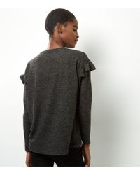 New Look Gray Grey Frill Trim Brushed Top