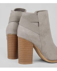 New Look - Gray Grey Suedette Elasticated Strap Contrast Heel Boots - Lyst