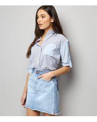New Look Pale Blue Patchwork Denim Mom Skirt