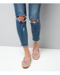 New Look - Wide Fit Pink Suedette Embroidered Loafers - Lyst