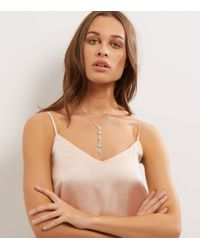 New Look - Multicolor Crystal Iridescent Leaf Drop Necklace - Lyst