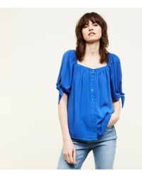 New Look Blue Square Neck Button Front Blouse