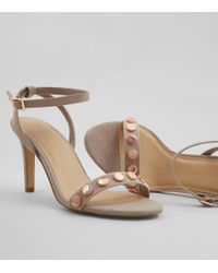 New Look - Gray Wide Fit Grey Stud Strap Heeled Sandals - Lyst