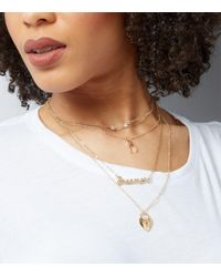 New Look   Metallic Gold Layered Dreamer Charm Necklace   Lyst