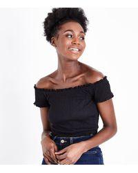 New Look Black Shirred Bardot Neck Crop Top