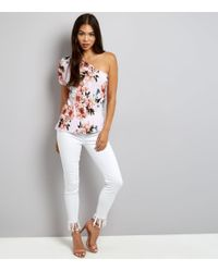 New Look Bright Pink Pleated Floral Print Off The Shoulder Top