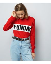 New Look Red Funday Print Long Sleeve Jumper