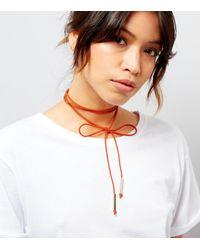 New Look - Orange Suedette Bow Tie Choker - Lyst