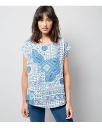 Apricot - Blue Tile Print Short Sleeve Top - Lyst