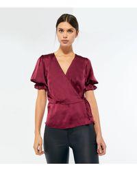 New Look Purple Burgundy Satin Puff Sleeve Wrap Blouse