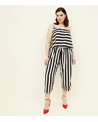 New Look Curves White Wide Stripe Cropped Trousers