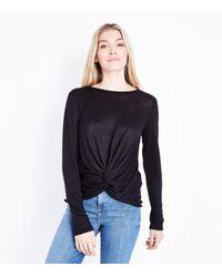 New Look Black Fine Knit Twist Front Top