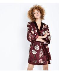 New Look - Multicolor Burgundy Floral Print Satin Kimono Robe - Lyst