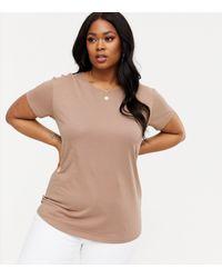 New Look Brown Curves Mink Plain T-shirt