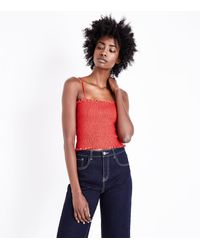 New Look Red Square Neck Shirred Cami