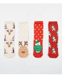 New Look White 4 Pack Multicoloured Penguin Reindeer Christmas Socks