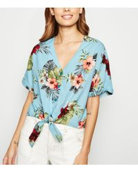 New Look Blue Floral Short Sleeve Button Front Shirt