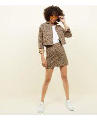 New Look Brown Tan Leopard Print Denim Mini Skirt