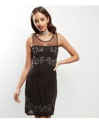 Mela Black Mesh Panel Bead Embellished Dress