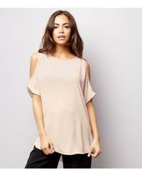 New Look Shell Pink Cold Shoulder Top